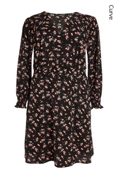 Curve Black Floral Wrap Dress